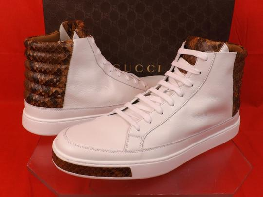Gucci White Mens Leather Python Details Limited Hi Top Sneakers 9 Us 10 Shoes Image 9