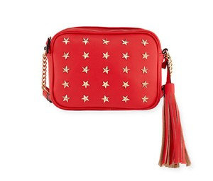Neiman Marcus Made In Italy For Roz Style Studded Chain/Leather Strap Cross Body Bag