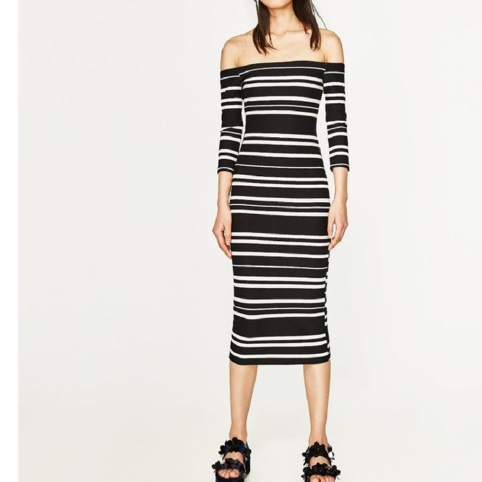 46f6383656 Zara Black White Off The Shoulder Striped Mid-length Night Out Dress ...