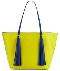 Neiman Marcus Made In Italy For W/ Xl Style Accents Tote in yellow and royal blue faux leather with tassel