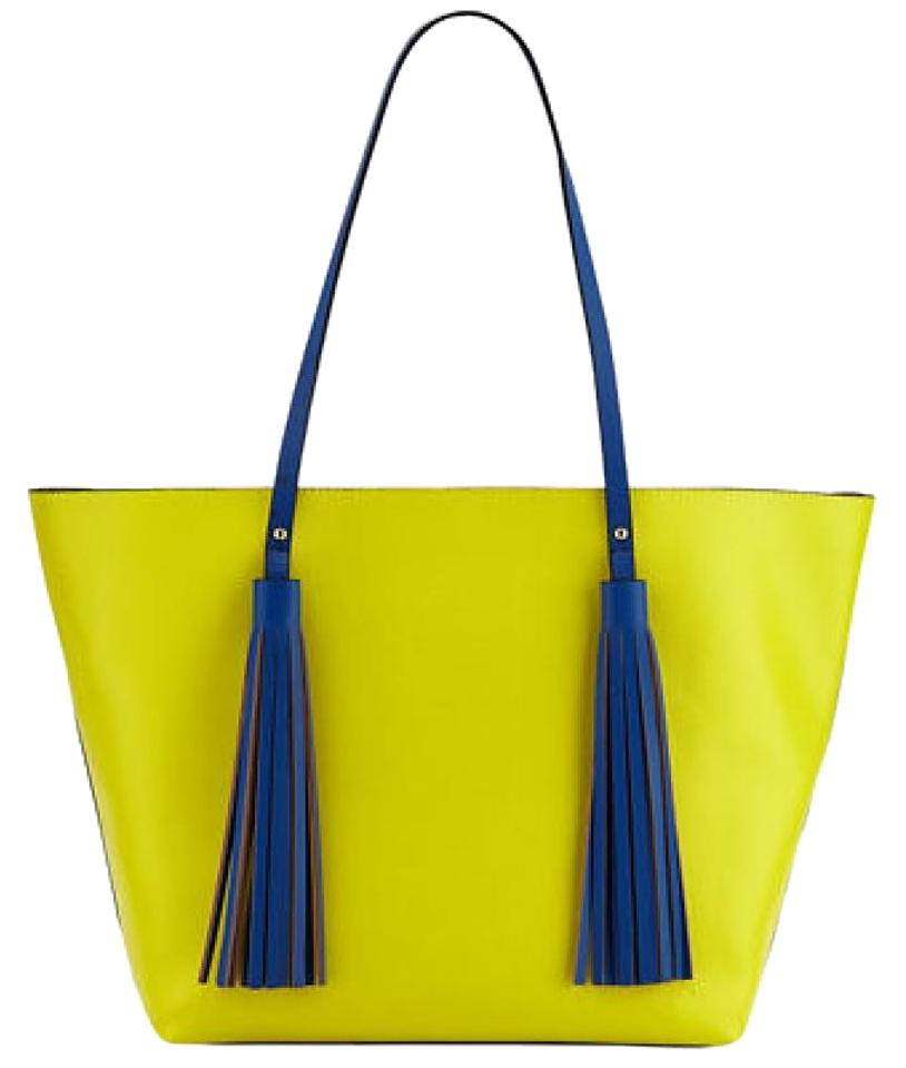 4a8a3b82339b Neiman Marcus Purses/Designer Purses Yellow and Royal Blue Faux Leather  with Tassel Tote