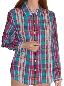 Foxcroft Checkered Plated Wrinkle Free Rayon Plaid Button Down Shirt Multi color