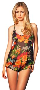 Agent Provocateur Floral Silk V-neck Camisole Print Top Black