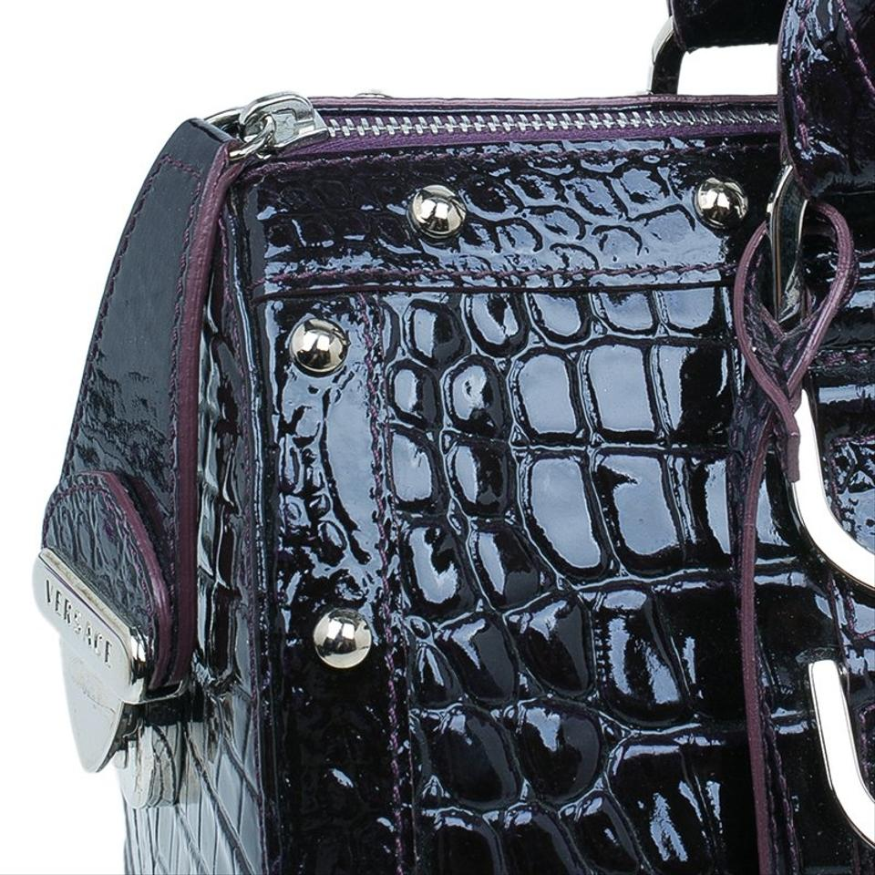 Croc Leather Patent Satchel Versace Out Of Purple Embossed Snap dWwZ1