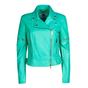 Blumarine Green Leather Jacket