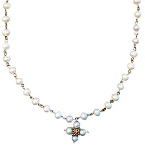 Anthropologie New! Stunningly Elegant Pearl Cross Necklace