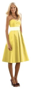 After Six Knee-length Strapless Satin Yellow Dress