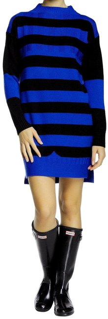 Item - Black and Blue Deep Sea Striped Sweater Large Mid-length Short Casual Dress Size 12 (L)