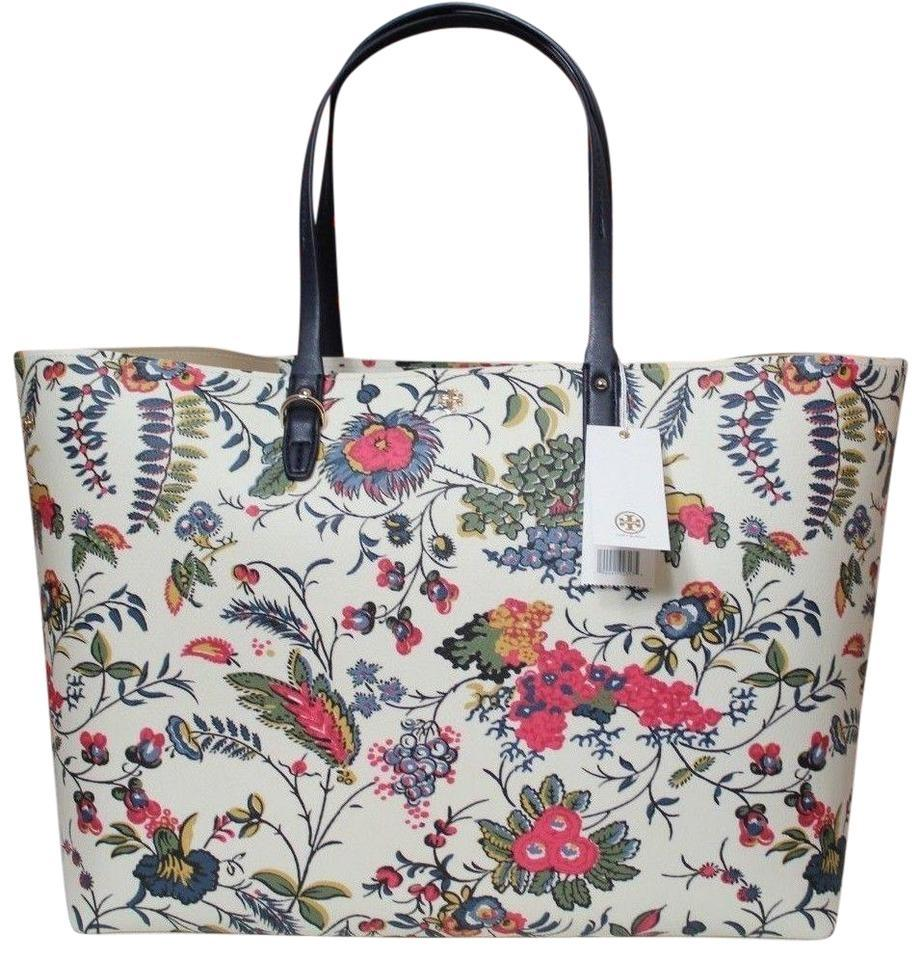 ecdc7015022 Tory Burch Adjustable Purse White Floral Coated Canvas Tote - Tradesy