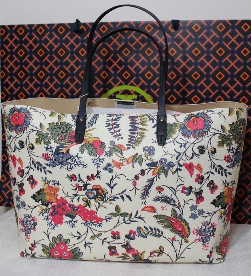 Burch Tote White Adjustable Purse Coated Canvas Floral Tory q0wT4q