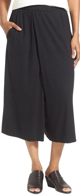 Eileen Fisher Black Jersey Pleated Culottes Pants Size Petite 14 (L) Eileen Fisher Black Jersey Pleated Culottes Pants Size Petite 14 (L) Image 1