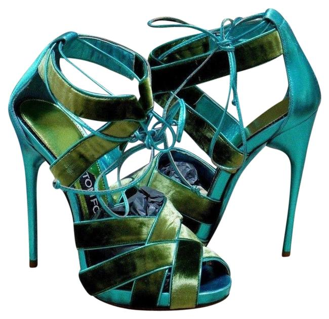 Item - Green / Turquoise Strappy Caged Sandals Size EU 35.5 (Approx. US 5.5) Regular (M, B)