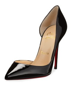 Christian Louboutin Iriza Half-d'orsay 100 Red Sole Patent Black Pumps