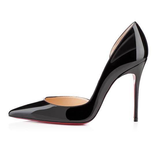 Christian Louboutin Iriza Half-d'orsay 100 Red Sole Patent Black Pumps Image 1