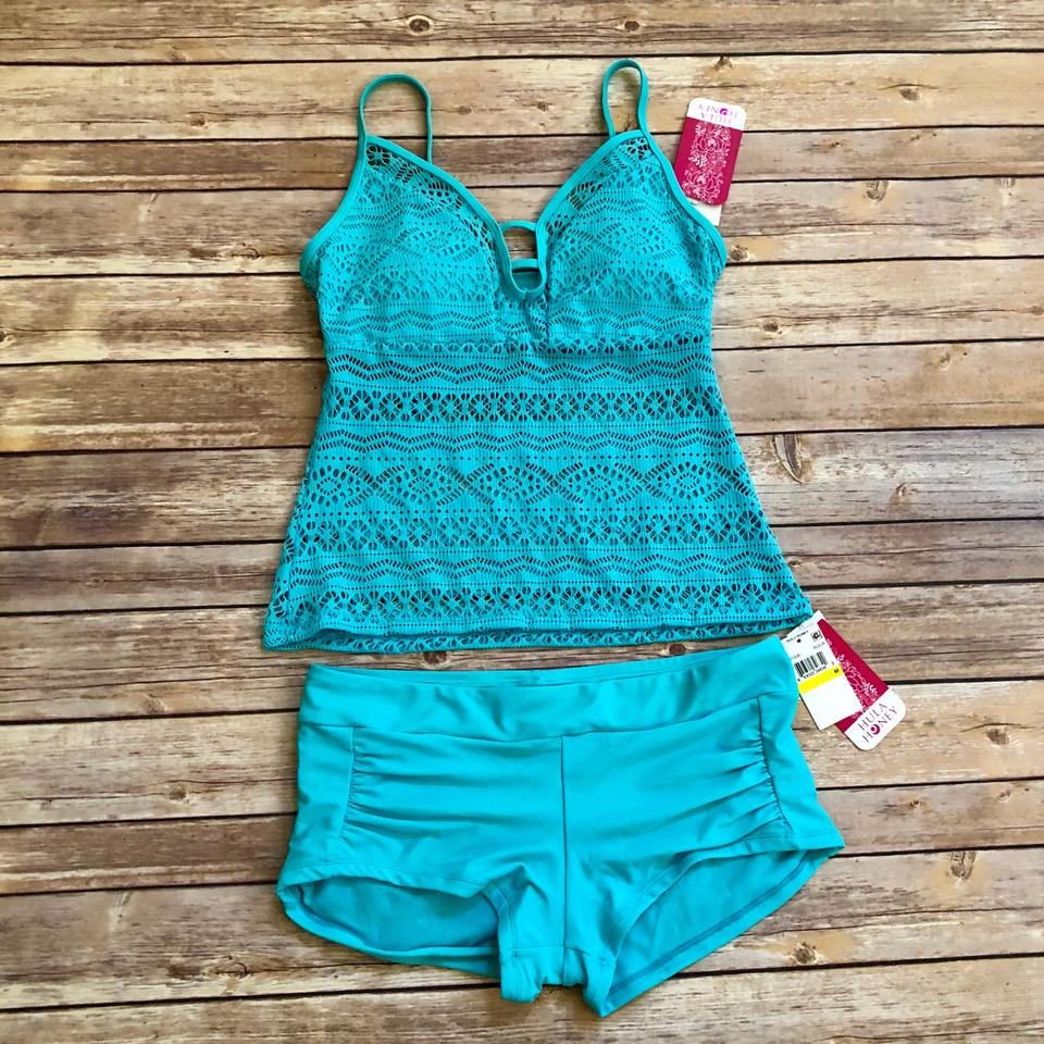6b56027c72 Hula Honey Aqua Little Wild One Crochet Illusion Tankini Size 8 (M ...