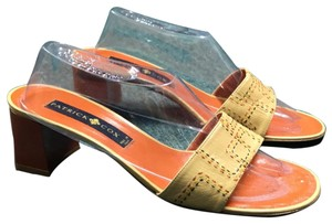 Patrick Cox tan with embroidery Mules