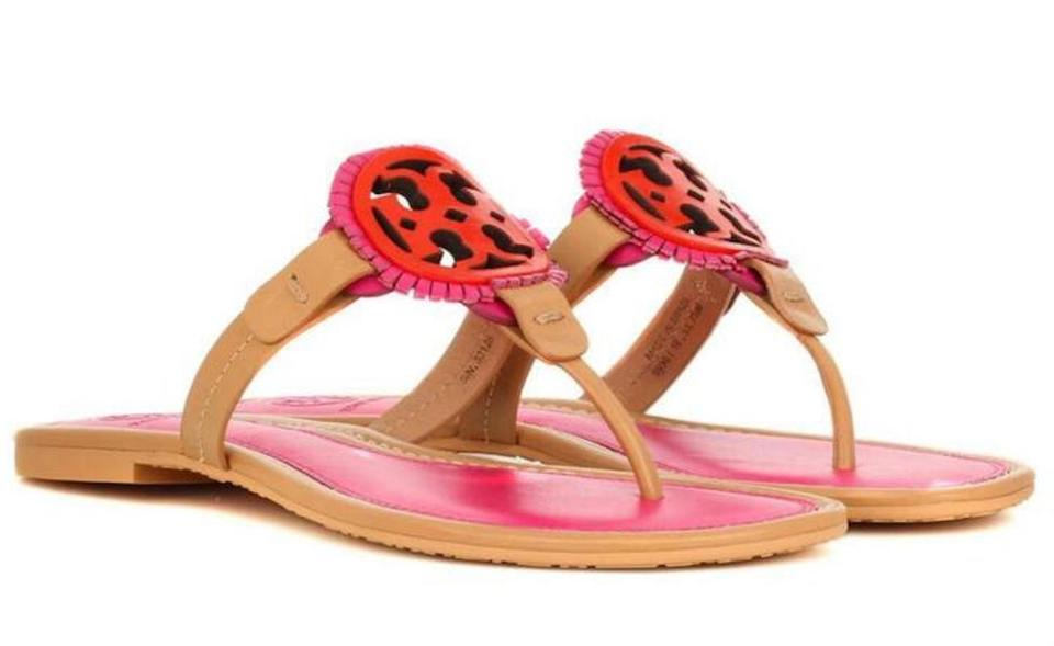 New Pink Burch Sandals Flats Logo Tory Miller Tan Summer Leather Fringe dt5atqw