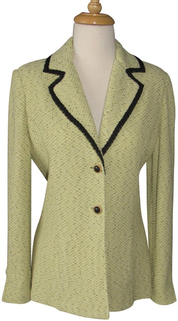 Item - Light Green & Black Collection Fitted Boucle Jacket Blazer Size 4 (S)