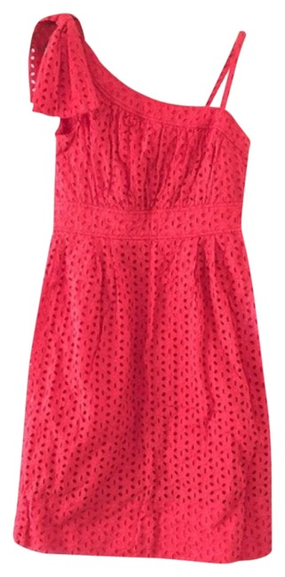 Item - Red One Shoulder Eyelet Mid-length Short Casual Dress Size 8 (M)