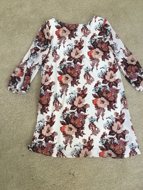 Lulu*s short dress White Purple Mauve Pink Floral Longsleeve on Tradesy