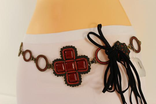 Alwaystyle4you Red Belt Faux Leather Hip Metal Chain Flower Charm Multi Strap Buckle