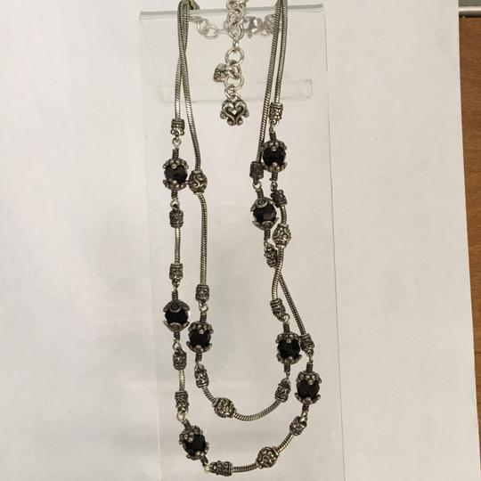Brighton Glass Mountain Silver and Black Double Strand Necklace