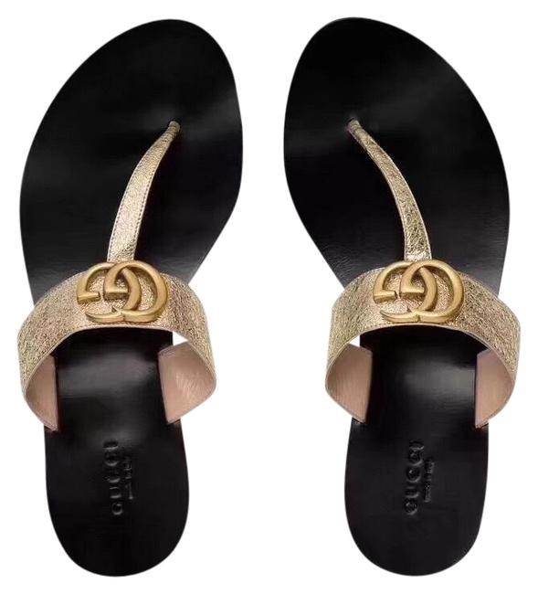Item - Leather Thong with Double G Sandals Size US 8 Regular (M, B)