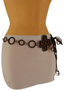 Alwaystyle4you Brow Belt Faux Leather Hip Metal Chain Flower Charm Multi Strap Buckle