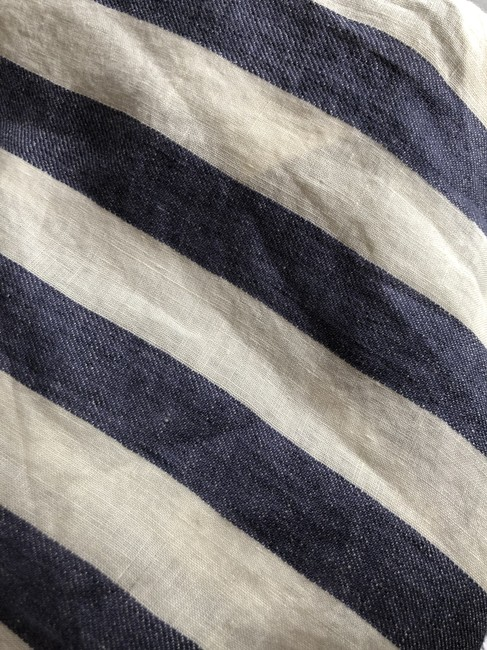 Talbots Classic Hardware Top creme & blue striped linen