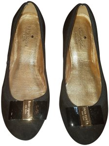 Kate Spade Suede Gold Hardware Bow Classic Black Flats