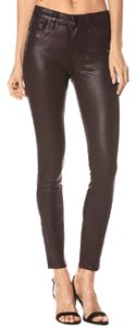 Paige Coated Stretch Red Skinny Jeans-Coated