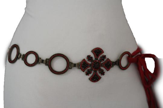Alwaystyle4you Red Belt Faux Leather Hip Metal Chain Cross Charm Multi Strap Buckle