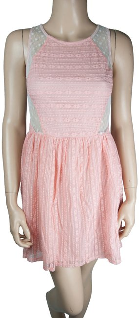Preload https://img-static.tradesy.com/item/23719630/robin-k-pink-white-lace-sheer-pleated-floral-short-casual-dress-size-6-s-0-1-650-650.jpg