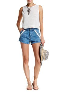 Free People High Rise Denim Summer Shorts Blue