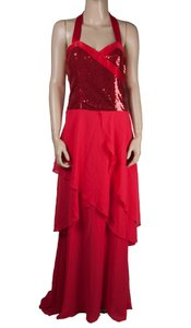 BCBGeneration Maxi Sequin Draped Tiered Dress