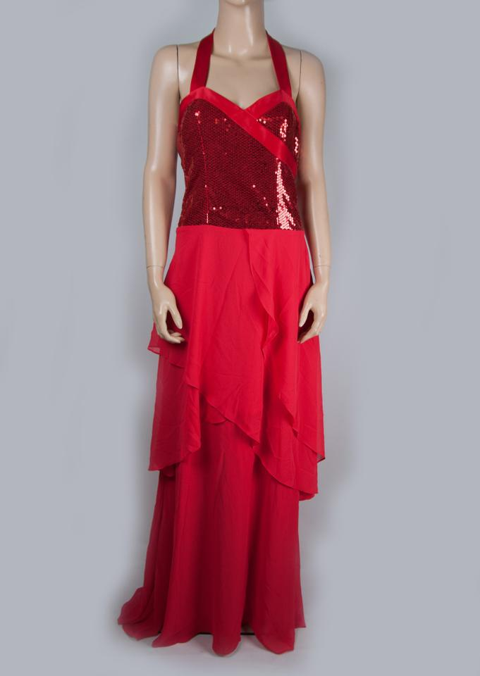 Bcbgeneration Red Maxi Sequin Draped Tiered Dark Long Formal Dress