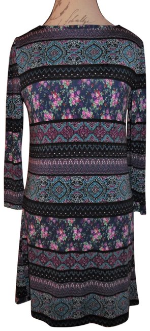 Preload https://img-static.tradesy.com/item/23719672/trixxi-black-purple-blue-red-floral-striped-abstract-print-stretchy-34-sleeves-short-casual-dress-si-0-1-650-650.jpg