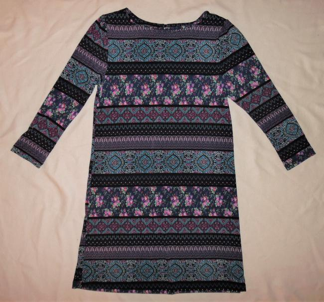 Trixxi short dress Black, Purple, Blue, Red 3/4 Sleeve Flowers Stripes Stretch on Tradesy