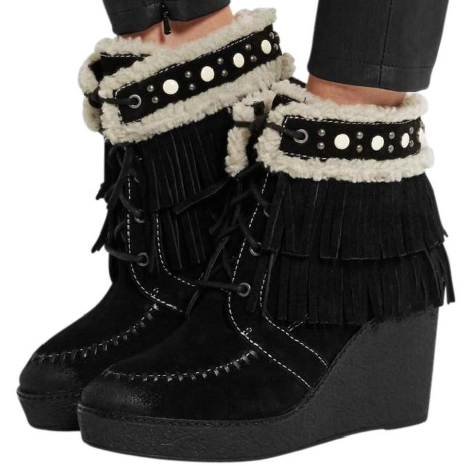 e337222995a6 Sam Edelman Black New Kemper Shearling Lined Fringed Suede Wedge Boots  Booties