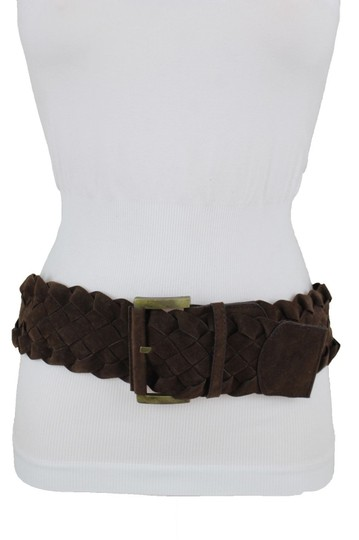 Alwaystyle4you Brow Belt Braided Band Faux Leather Wide Hip Gold Square Buckle