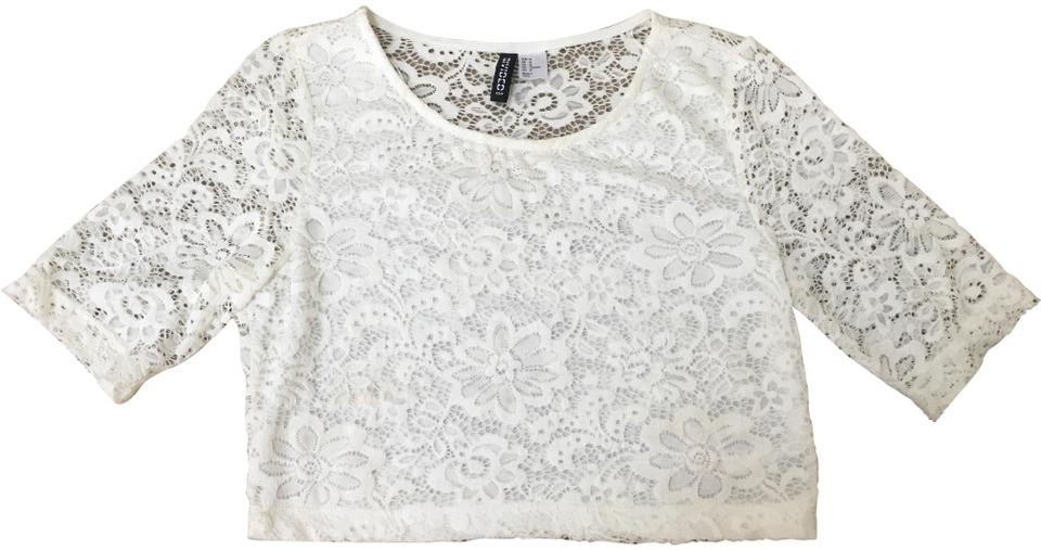 4665290888 Divided by H M White Lace Crop Tee Shirt Size 6 (S) - Tradesy