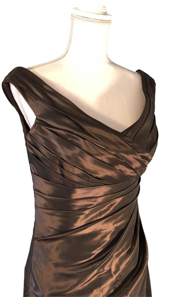 Chocolate Brown Off The Shoulders Long Formal Dress Size 12 L