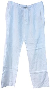 Perry Ellis Linen Straight Pants White