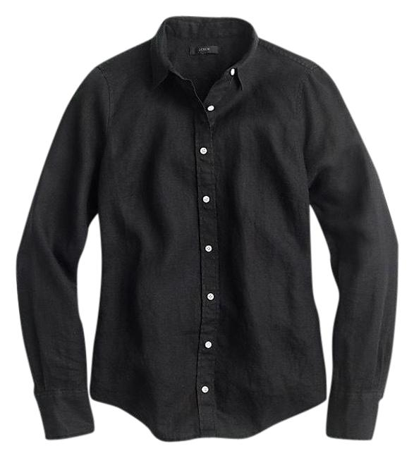 Preload https://img-static.tradesy.com/item/23719919/jcrew-black-tall-slim-perfect-shirt-in-piece-dyed-irish-linen-button-down-top-size-4-s-0-1-650-650.jpg