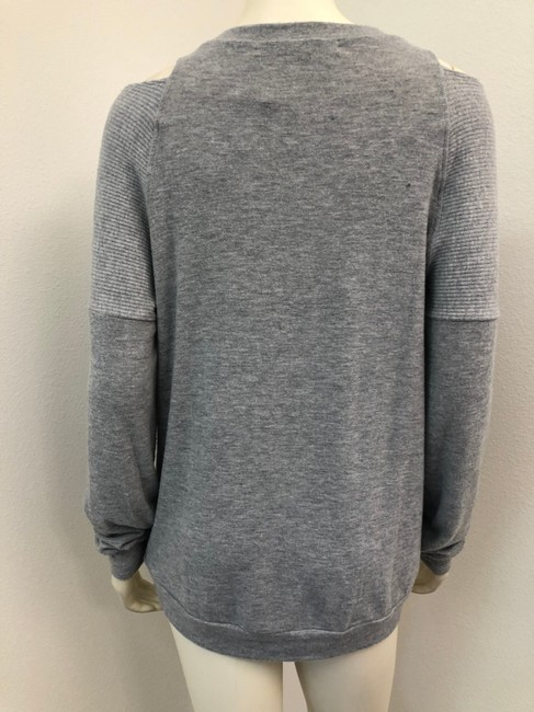 Michael Stars Long Sleeve Open Shoulder Brushed Heathered Sweater