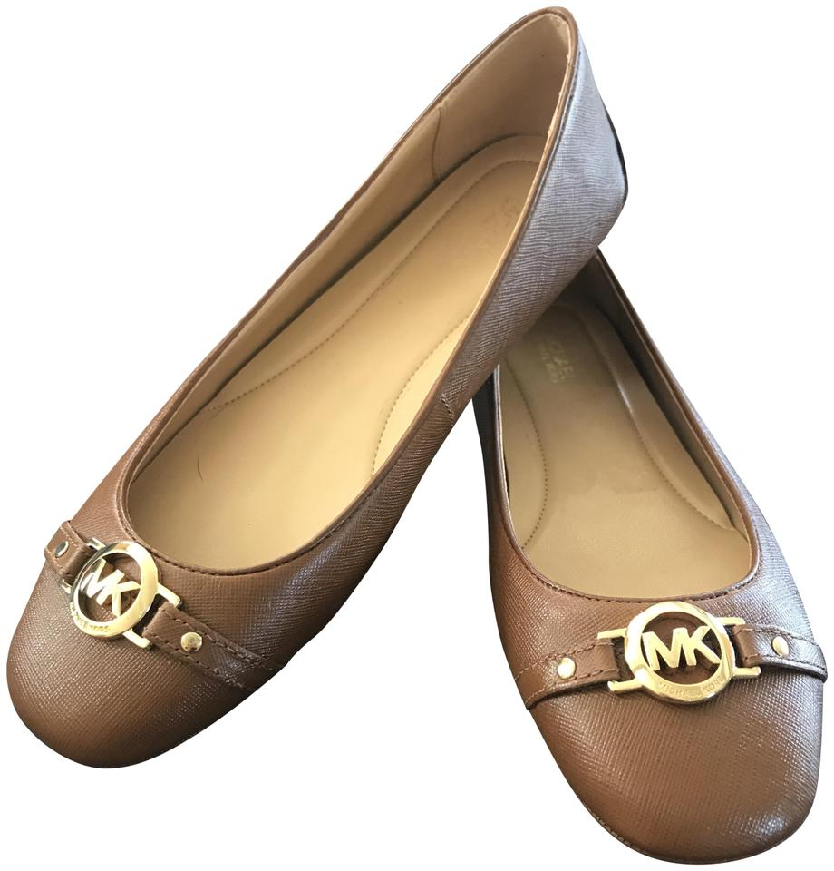 f77185913956 Michael Kors Luggage (Brown Tan) Hampton Ballet Leather Moccasin Loafer  Flats