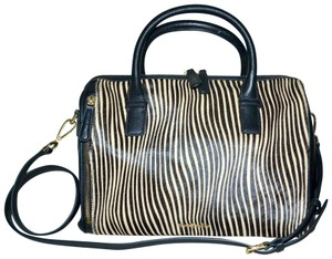 Vera Bradley Leather Speedy Marlo Satchel in Black and Animal Print