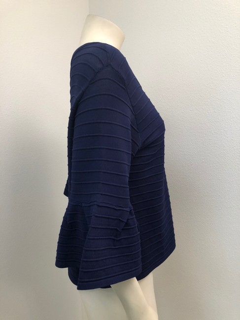 MILLY 3/4 Sleeve Ruffle Ribbed Founce Navy Sweater