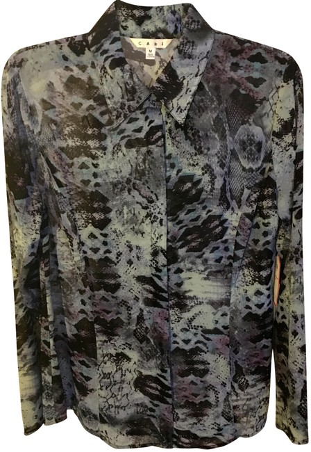 Preload https://img-static.tradesy.com/item/23720066/cabi-snake-python-blouse-button-down-top-size-8-m-0-1-650-650.jpg
