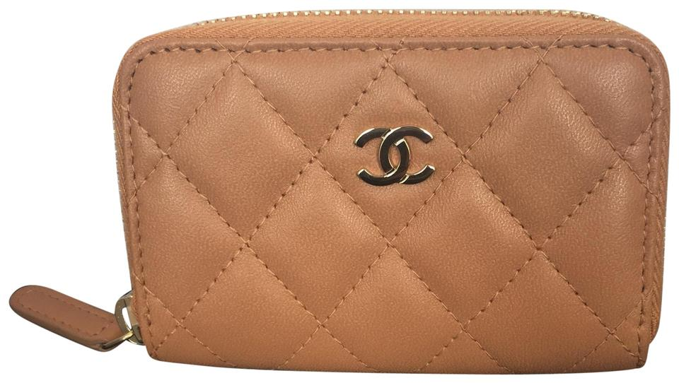 9f51fefaf239 Chanel Light Brown Zippy Coin Purse Rare Lambskin Quilted Wallet ...